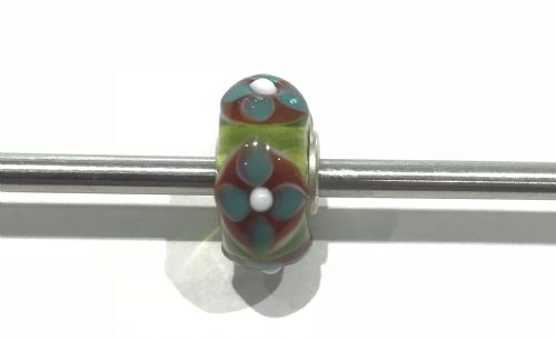 Trollbeads Unique Blue, Red And Green Glass Bead U301